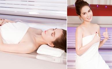 Ngọc Trinh thích thú trải nghiệm công nghệ tắm trắng Bio Light 4D